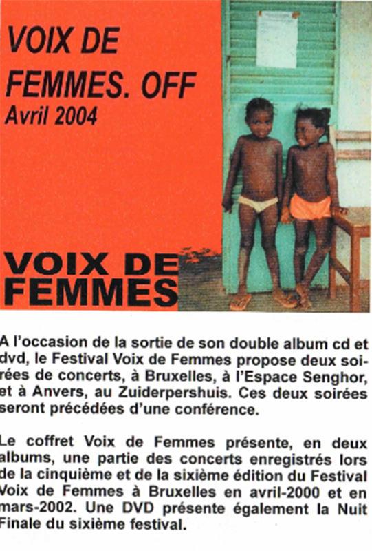 Flyer du Festival Voix De Femmes.OFF