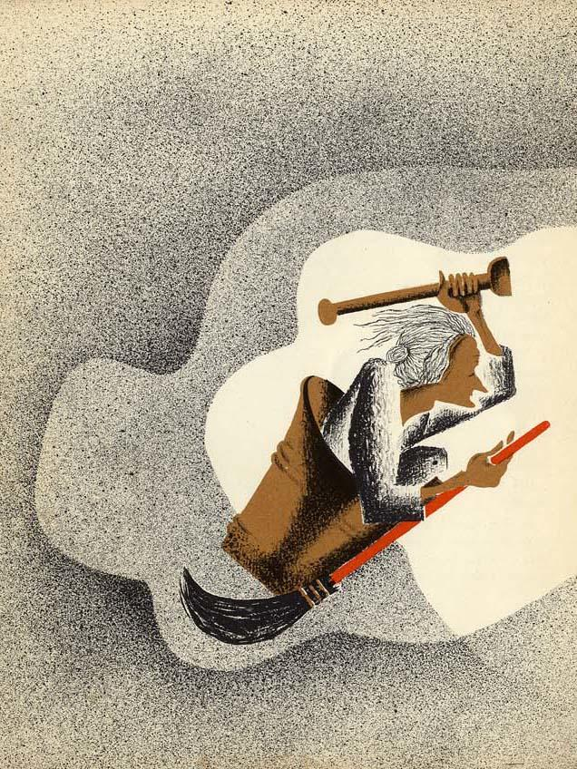 Détail de «Baba Yaga», version française écrite par Rose Celli et illustrée par Nathalie Parain (Flammarion, 1932).