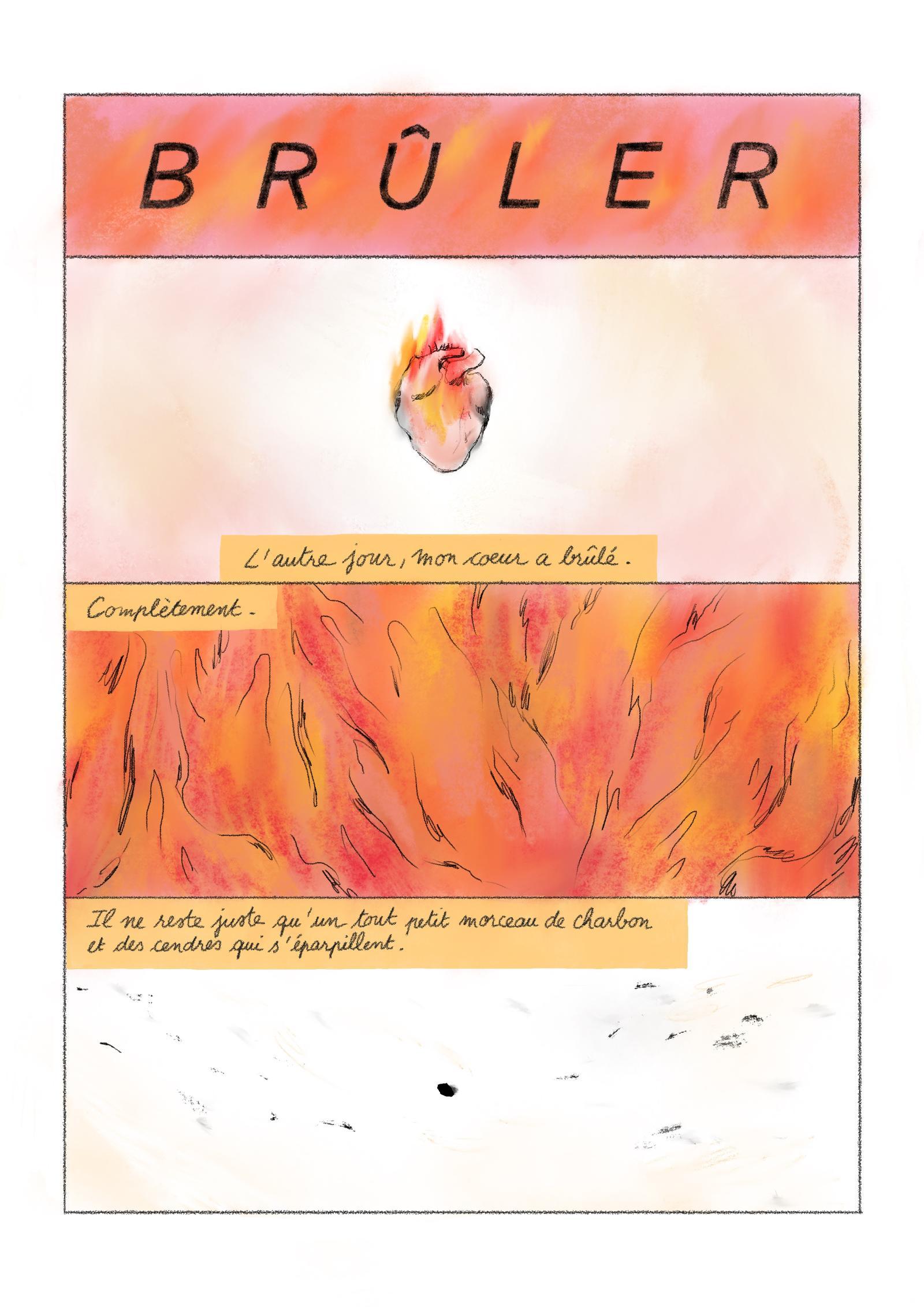Aurore Vegas, « Brûler ». Pour Bela, mai 2021. Page 1/4.