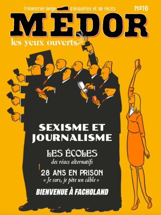 Sexisme et journalisme. Médor nr. 16, automne 2019. Illustration : Rebecca Rosen.