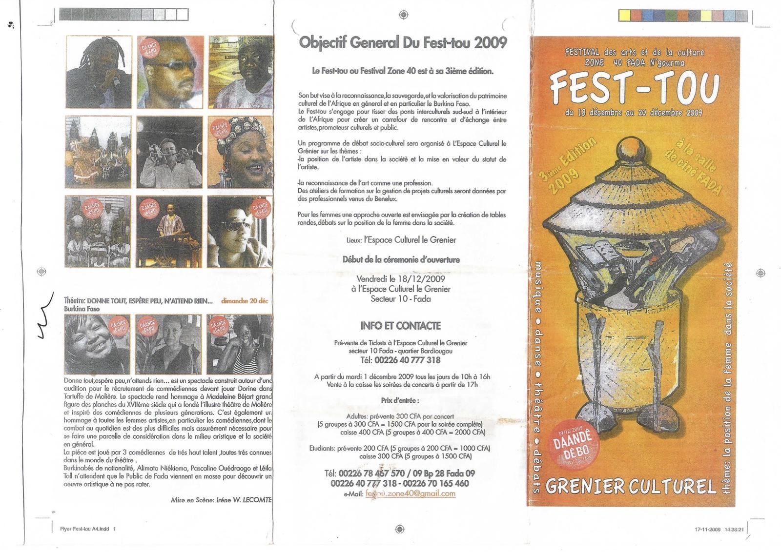 Programme du Fest-tou (18 au 20 décembre 2009)