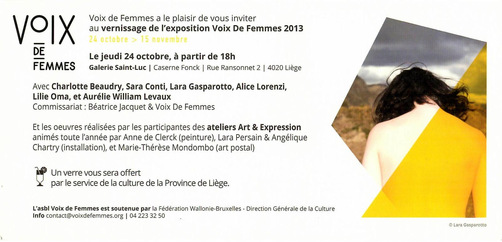 Flyer du vernissage de l'exposition de Voix de Femmes 2013
